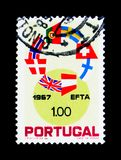 Ring of Flags of the E.F.T.A. Countries, Establishment of Free T. MOSCOW, RUSSIA - NOVEMBER 24, 2017: A stamp printed in Portugal shows Ring of Flags of the E.F Stock Photo
