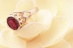 Ring on flower. Beautiful macro shot of a ring on a soft flower. Good for wedding products Stock Images