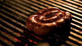 Ring of fragrant home-made sausage toasting on grill, street food festival. Stock footage stock video