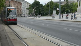 The Ring in front of the parliament building in Vienna. A tram along the Ring in Vienna stock footage