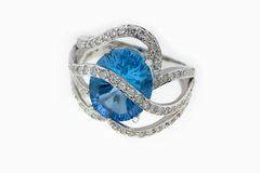Ring with gem and brilliants Royalty Free Stock Image