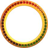 Ring of gems. A round gold frame, studded with gems stock illustration