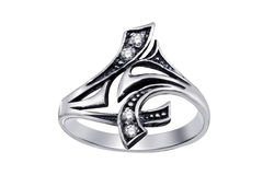 Ring  with gemstones  isolated Stock Photo