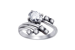Ring with gemstones isolated royalty free stock image