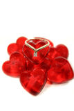 Ring On Glass Hearts Stock Images