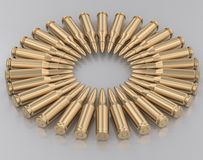 Ring of Gold Bullets on White. Radial pattern of gold rifle bullets on a reflective white surface. This image is a 3d rendering Stock Photo