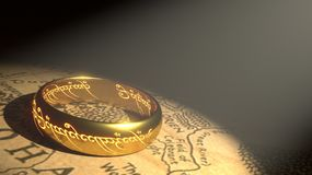 Ring, Gold, Middle Earth Royalty Free Stock Images