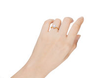Ring in hand woman isolate on white background. Royalty Free Stock Photo