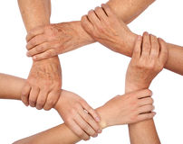 Ring of hands teamwork. Six hands linked, ring of hands teamwork Stock Images