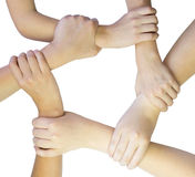 Ring of hands teamwork Stock Photo