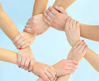 Ring of hands teamwork showing Royalty Free Stock Photo