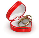 Ring in the heart box (clipping path included) Royalty Free Stock Image
