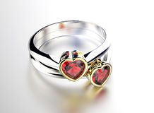 Ring with heart shape Diamond. Jewelry background. Valentine day Royalty Free Stock Photography