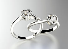 Ring with heart shape Diamond. Jewelry background. Valentine day Stock Image