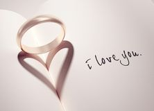 Ring with heart shaped shadow Royalty Free Stock Images