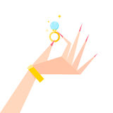 Ring on his hand. Vector illustration of a hand holding a diamond ring Stock Image
