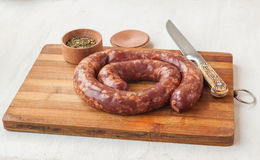 Ring homemade raw liver pork sausage Stock Image