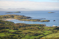 Ring of Kerry, Ireland. Derrynane and Scariff Island viewed from the Rinf of Kerry, Ireland Stock Images
