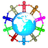 Ring of kids around the world. Ring of colorful kids around a blue globe of the earth isolated over a white background Stock Photos