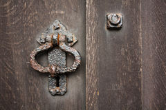 Ring knock. On the old door Stock Photos