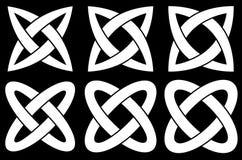 2-ring knots. Isolated on black background Stock Illustration