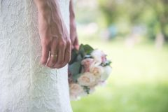 Ring, lace and flowers stock photos