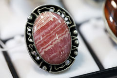 Ring  with a large agate Stock Photography