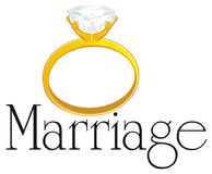 Ring and large black word. Yellow ring with a diamond with large black word marriage Vector Illustration