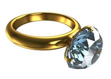 Ring with a large diamond Stock Image