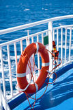 Ring life boy on ferry. royalty free stock photo