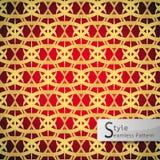 Ring lotus gold dark red geometric seamless pattern vector illus Royalty Free Stock Images