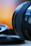 Ring Macro Extension Tube with objectiv on blur background Stock Photos