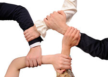 Ring of many hands team Royalty Free Stock Images