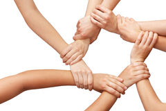 Ring of many hands teamwork. Isolated Stock Photo