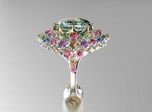 Ring met diamant De achtergrond van manierjuwelen stock fotografie