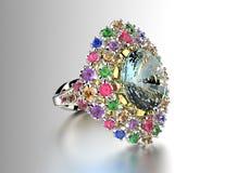 Ring met diamant De achtergrond van manierjuwelen stock afbeelding