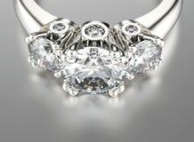 Ring met diamant De gouden en Zilveren Zwarte Achtergrond van de Juwelen van de Stof vector illustratie
