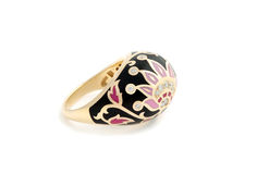 Ring met email en diamanten royalty-vrije stock foto