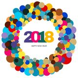 Ring of multi-colored circles and the inscription Happy New Year 2018 inside. New Year and Xmas Design Element Template. Vector Illustration Royalty Free Stock Photo