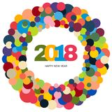 Ring of multi-colored circles and the inscription Happy New Year 2018 inside. New Year and Xmas Design Element Template. Vector Illustration Stock Image
