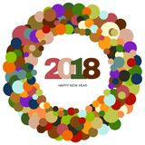 Ring of multi-colored circles and the inscription Happy New Year 2018 inside. New Year and Xmas Design Element Template. Vector Illustration Royalty Free Stock Photos