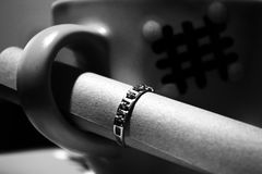 Ring and note. Cup with a tea, engagement ring and note marry me Stock Photos