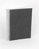 Ring notebook with black cover on white background. Stock Photo