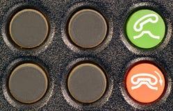 Ring och häng upp knappar på den gamla telefontangentbordscloseupen Arkivbilder