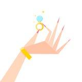 Ring op zijn hand Stock Afbeelding