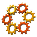 Ring of orange gears Royalty Free Stock Image