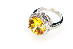 Ring with orange stone Royalty Free Stock Photography