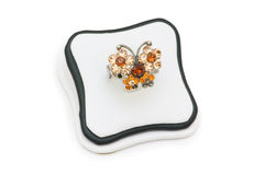 Ring with orange stones Royalty Free Stock Photos