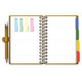 Ring Organizer Notebook With Pencil And Post it Paper. Background Design Royalty Free Stock Photos