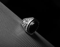 Ring. Ottoman ring on a black background Stock Photo